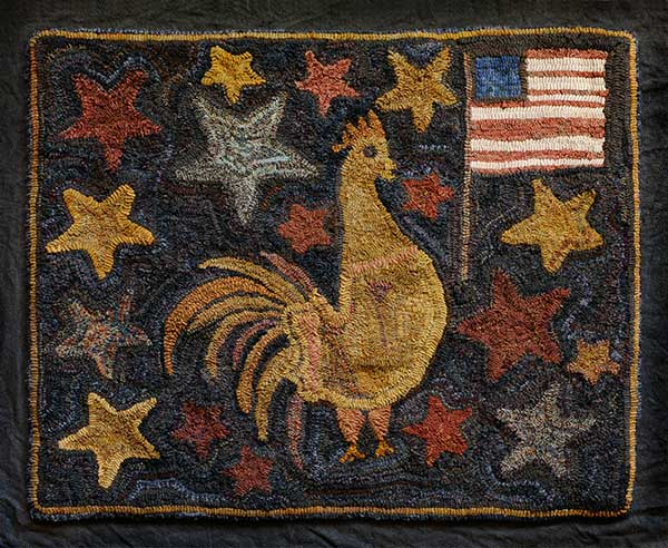 Handwoven rug with rooster, american flag and stars